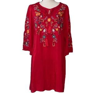 UMGEE tie front red dress floral print size small